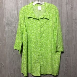 Green and White BLAIR button down blouse - Size 3X